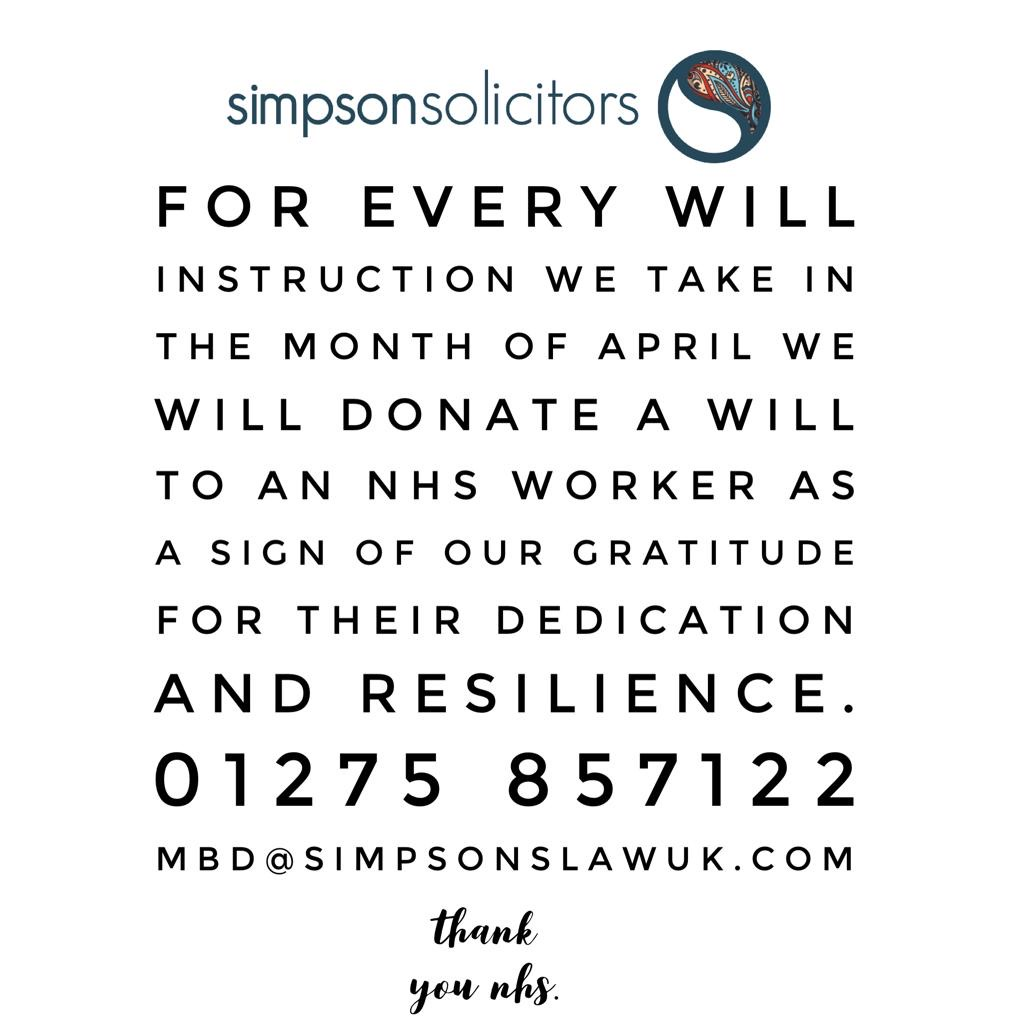 With every Will instruction Simpson Solicitors are donating a free Will to an NHS worker