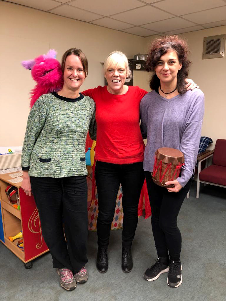 Kathleen Taylor, play therapist; project manager Lorri Weaving and Nuria del Real Iglesias, dance movement psychotherapist