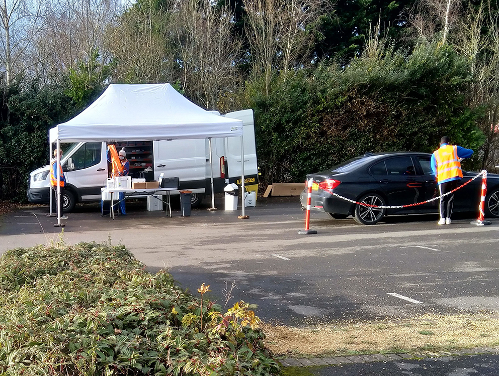 The mobile Covid-19 testing centre at Cleve RFC's ground.  Picture: Michael Bell