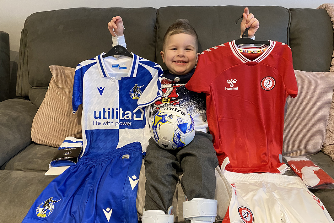 Four-year-old Oscar Cridge, from Longwell Green, with his Rovers and City kits