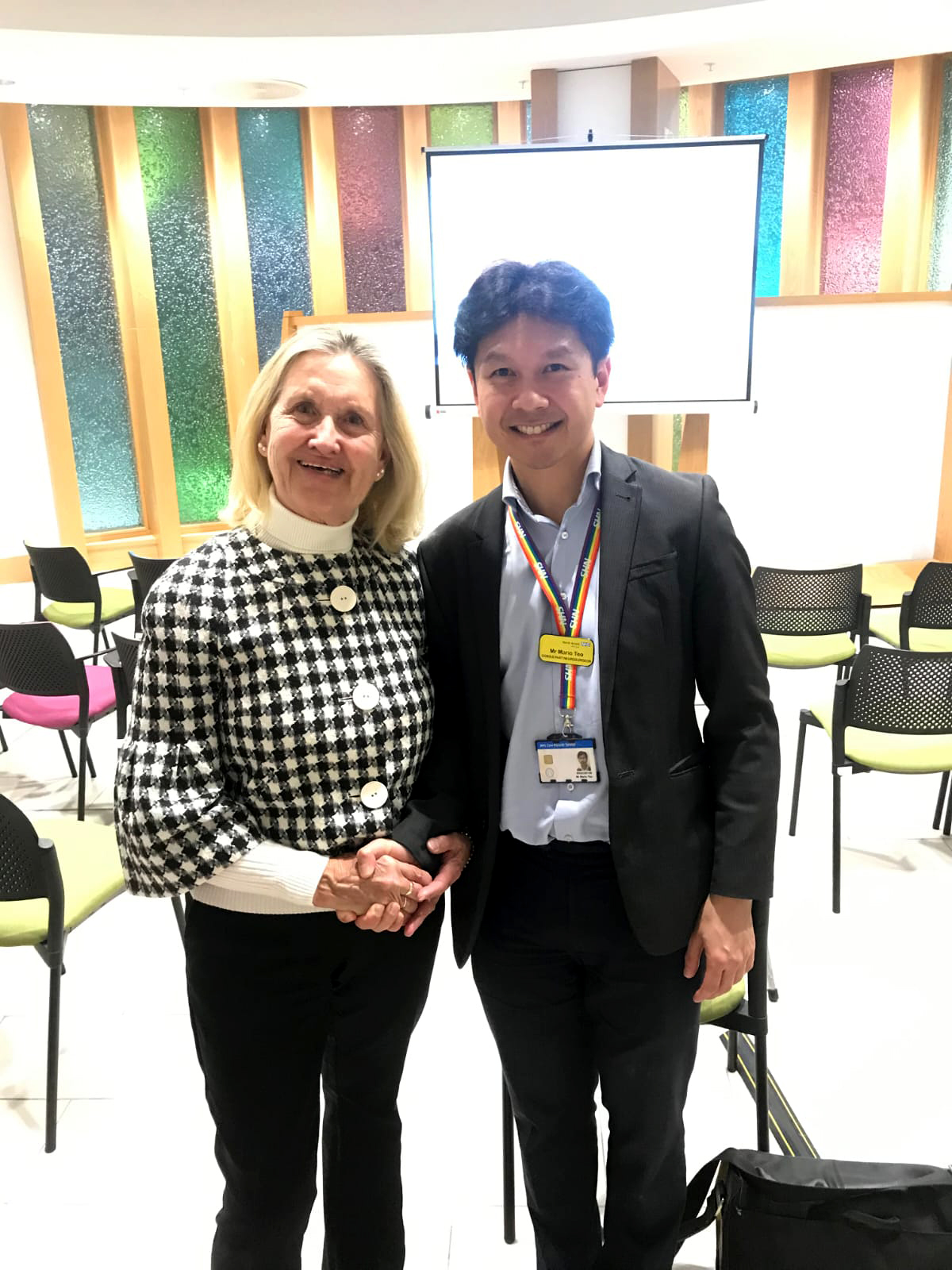 Carole Ashmore MBE with neurological consultant Mr Teo