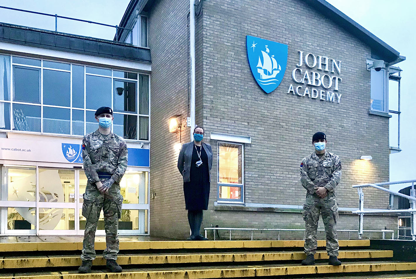 The Covid-19 testing programme at John Cabot Academy in Kingswood has been given the OK by the army. Principal Kate Willis is pictured with Sergeant Sam Curtis and Gunner Alex Clifford.