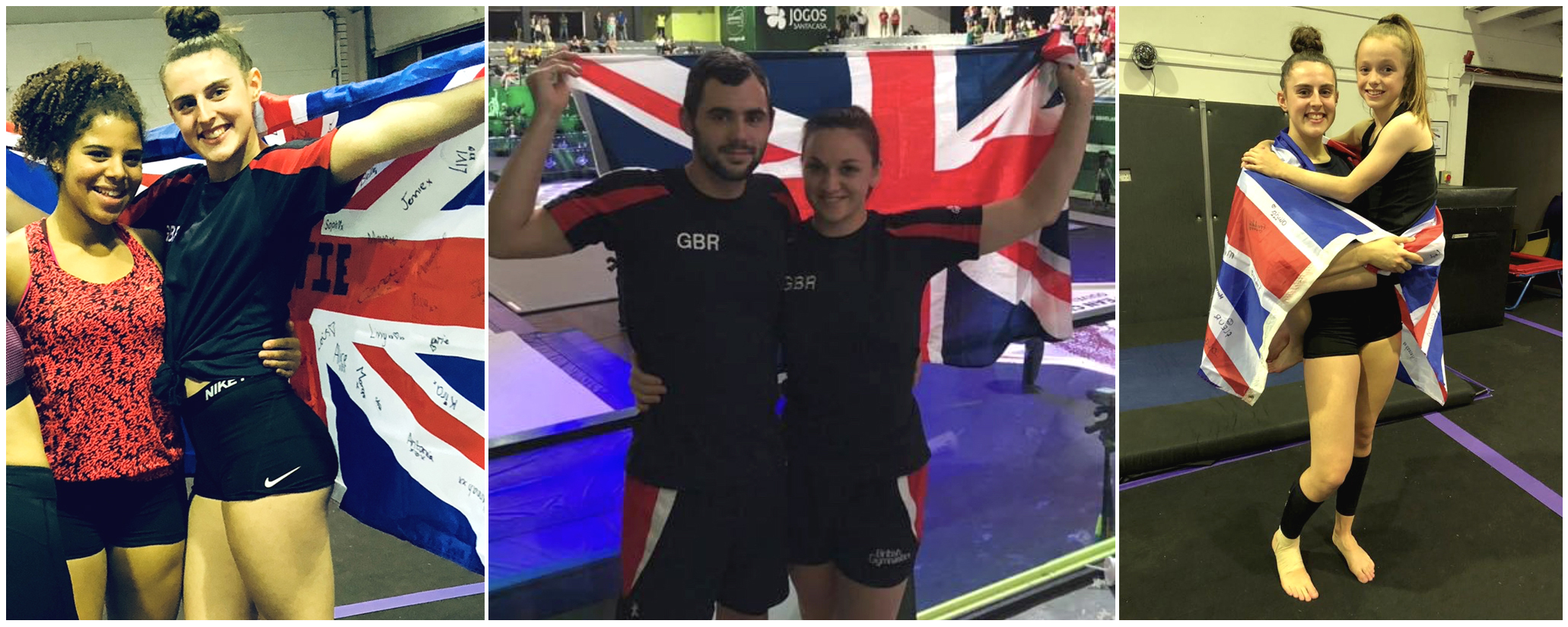 [1] Larissa Royal with Katie Iles have also been selected to take part at the TeamGym European Championships, representing Great Britain [2] James Langley, who was also recently made the development coach, alongside Stacey Godden, TeamGym manager  [3] Katie Iles with Paige Phillips. The age of the group ranges from 12-years-old to 22-years-old