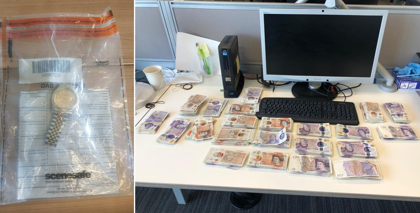 Suspected drugs, cash and high value goods seized and man arrested