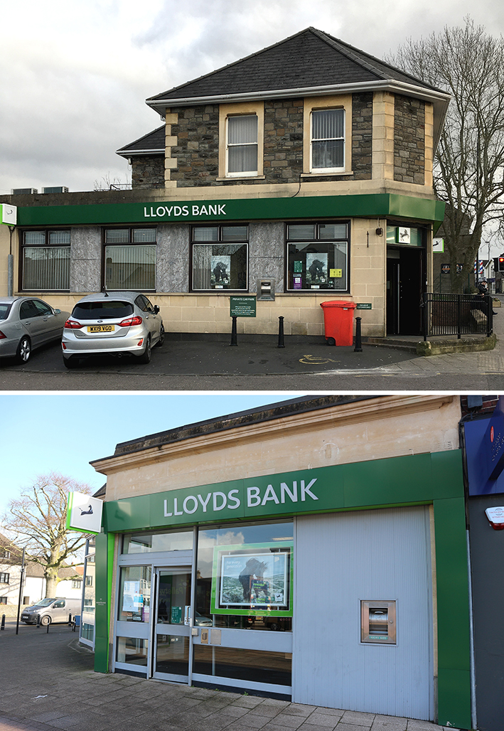 Lloyds bank branches in Hanham, top, and Downend, above