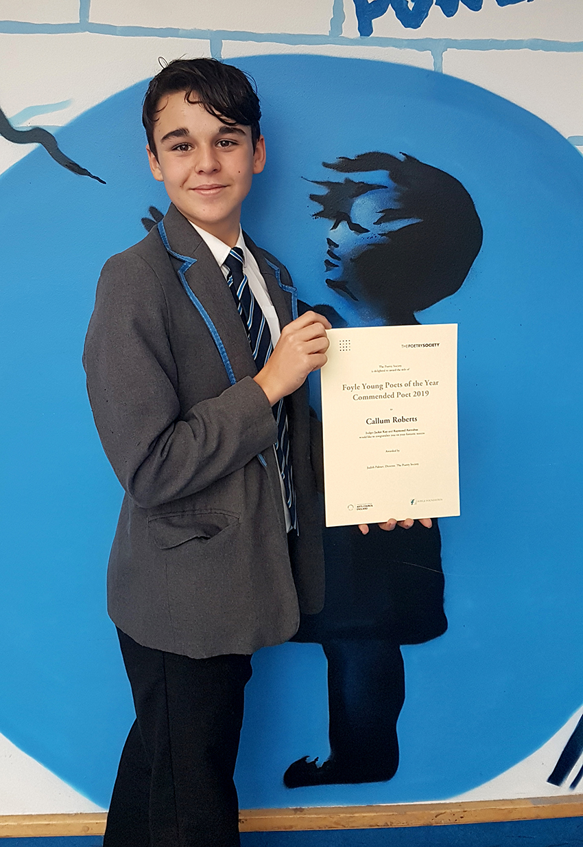 Proud Callum wins prize for poetry