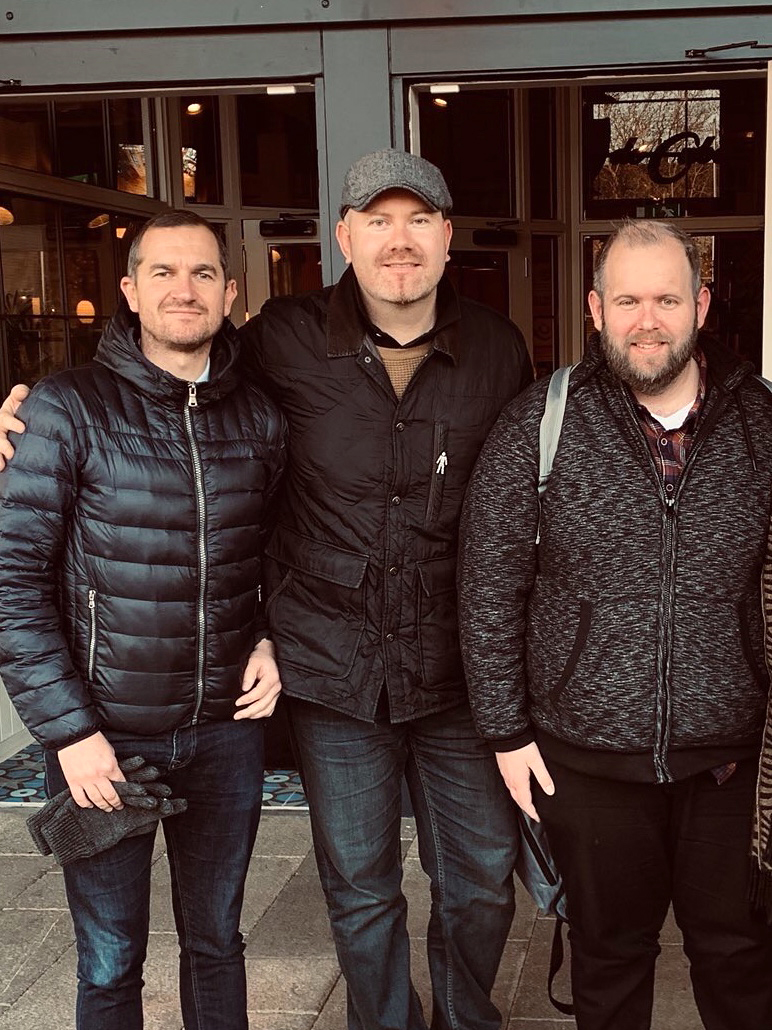 The 3 Peaps in a Podcast team – Rich Brown, Patch Warner and Mike Pedley in 2018, before Mike lost his battle with cancer