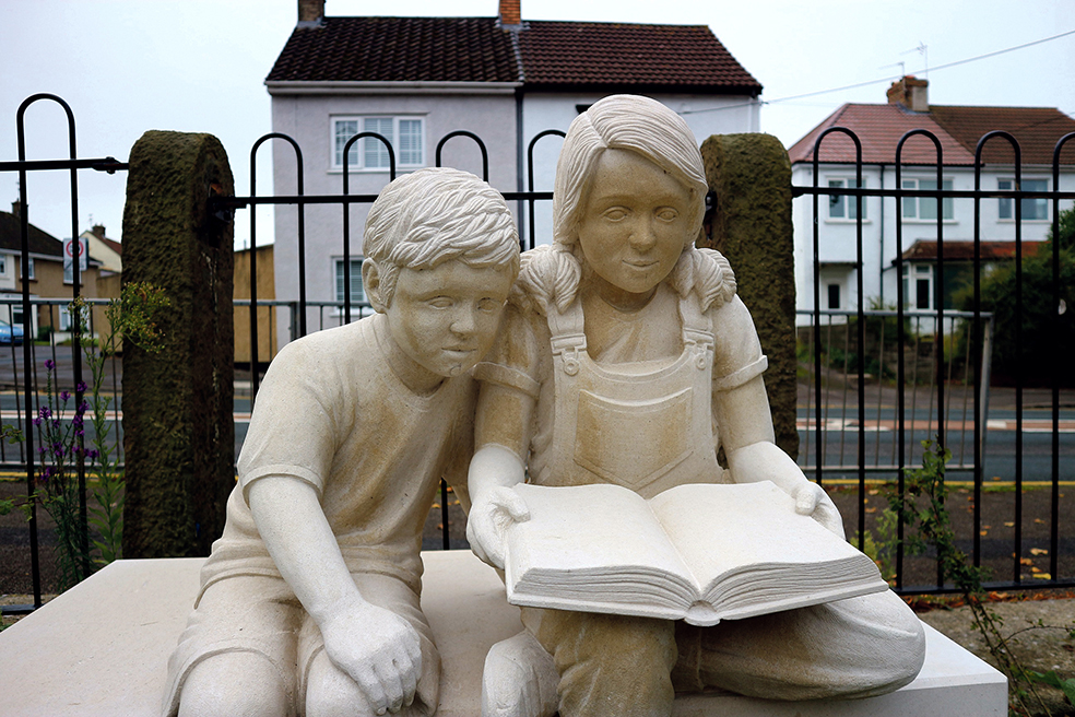 The sculpture marking the site of the former Mangotsfield C of E School