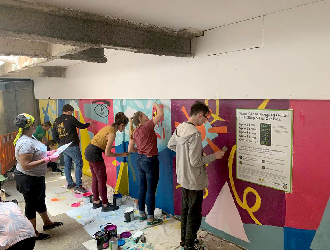 Making a marvellous mural to brighten up Kings Chase car park