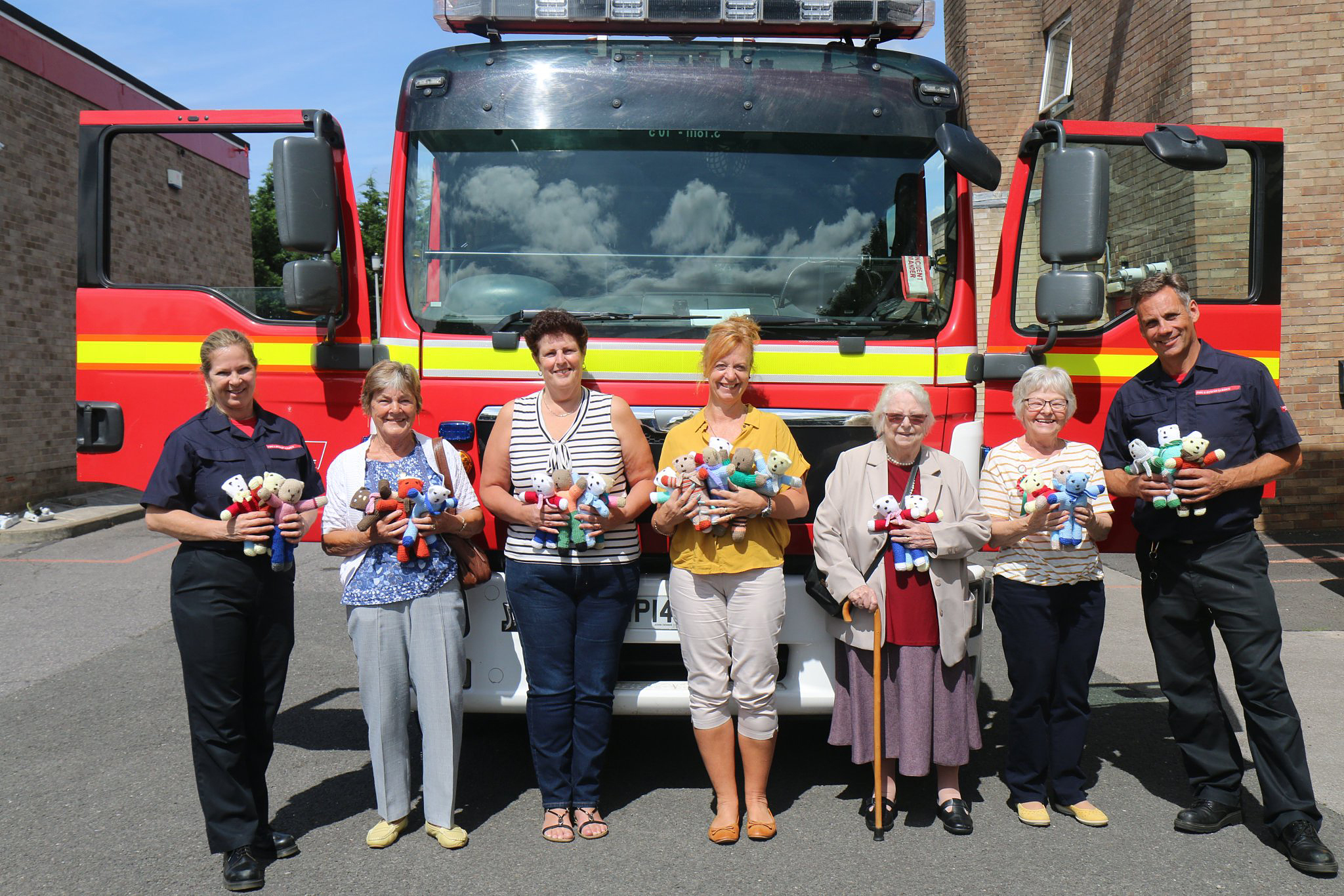 The Trauma Teddies handover (photo courtesy of Kingswood Fire Station)